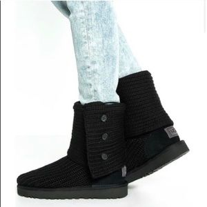 Ugg Classic Cardy Black knit Boots/7